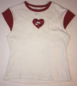 Nike Womens Shirt Size L Nike Red Glitter Heart Ladies Nike Check Measurements