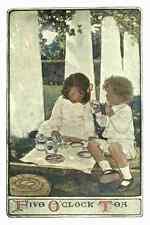 A4 Photo Willcox Smith Jessie 34 1903 Child in a Garden Five oclock tea Print Po