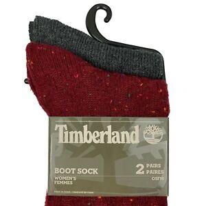 Timberland Women's Boot Socks 2 Pair Speckled Red, Dark Gray
