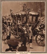CORONATION 1937. Two Crowns, two Sceptres. King George VI in state carriage 1937