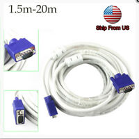 5/10/20M VGA SVGA 15Pin Male to Male M/M Monitor Cable Lead For PC TV Laptop top