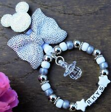 Personalised pram charm in Silver bow Grey beads baby girls boys