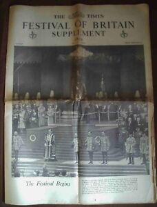 The Times Festival of Britain Supplement - 1951 - original newspaper - 32 page