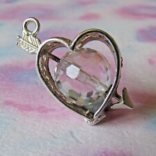 VINTAGE SILVER & FACETED GLASS HEART WITH ARROW CHARM