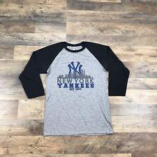 NEW YORK YANKEES 3/4 Sleeve T-Shirt Baseball Shirt Mens Small Logo Tee Adult MLB
