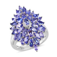 Platinum Over 925 Sterling Silver Blue Tanzanite Flower Ring Gift Ct 4.4