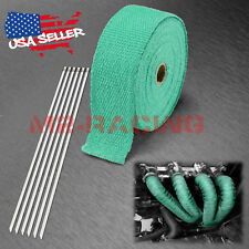 """Green Teal Exhaust Pipe Insulation Thermal Heat Wrap 2"""" x 50' Motorcycle Header"""
