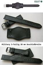 EULIT Echtlederband 3-Teilig mit Unterleder für Fliegeruhr und Militäruhr 20 mm