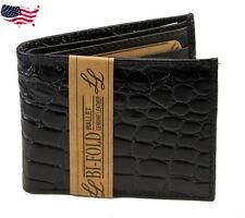 New Mens Crocodile Black Wallet Alligator Bifold Genuine Leather  Print