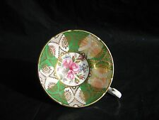 VTG RARE PARAGON Green Gold Gilt Pink Rose Floral TEA APPOINTMENT TO Her Magesty