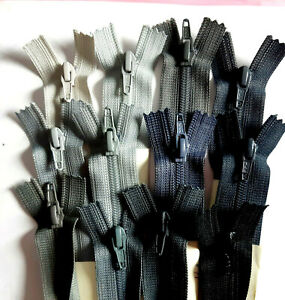 Reißverschluss Nylon Wirkware Größe # 2,5 unteilbar SCHWARZ GRAU Farbtöne YKK