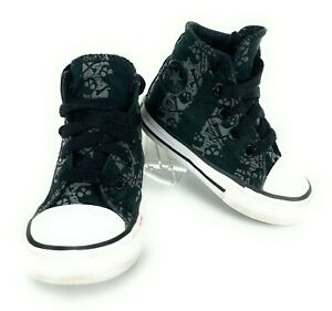 Toddler Boy's Converse All Star Black And Gray Skull High Top Shoes Size 4