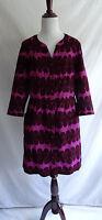 Boden US 10 Pink Corduroy Shift Dress Retro Polka Dot Button Down Front Pockets