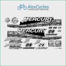 MERCURY Marine 60 HP Outboadrs Motor Pixel Laminated Decals Boat Kit Stickers