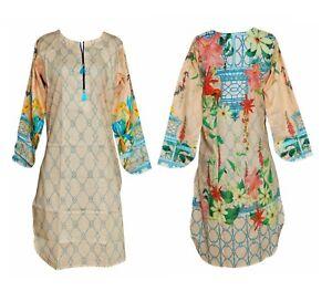 Women Indian Pakistani Kurti Kurta Cotton Kameez Dress Digital Print Tunic Top