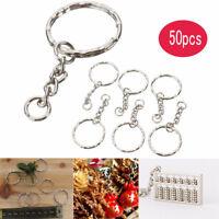 50pcs key Ring Polished Silver Keyring Keychain Split Ring Short Chain DIY AT US