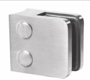 Stainless Steel Glass Clamp for 10mm Glass - Flat Back 304 Grade - Satin Finish
