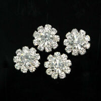 10/20 Pcs Alloy Craft Tone Flatback Clear Crystal Flower Silver DIY Rhinestone