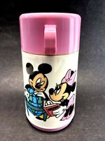 Vtg Aladdin Thermos Disney Mickey & Minnie Mouse School Art Geography Pink USA
