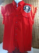 Mens Laughlin Nevada 2014 Cotton Button Vest Biker Shirt Orange Large Skull Lg