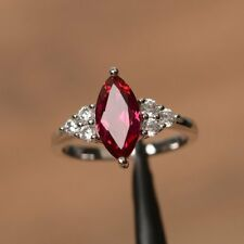 14k White Gold Over 1.5 CT Marquise Cut Red Ruby Diamond Women's Engagement Ring