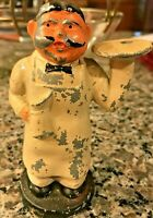 VINTAGE CAST METAL MAN WAITER WITH JUG FIGURINE