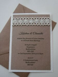 RUSTIC WEDDING INVITATION SAMPLE WITH VINTAGE LACE AND JUTE - UNPERSONALISED
