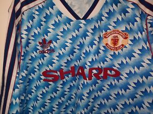 Man utd Away Shirt 1990/1991/92. Retro classic. Large. 21inches pit to pit. BNWT