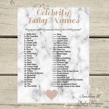 Marble & Rose Gold Celebrity Baby Name Guessing Game Baby Shower 20 Sheet