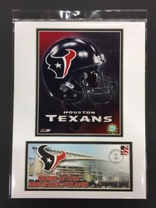 HOUSTON TEXANS 2002 INAUGURAL GAME DAVID CARR 12X16 MATTED PHOTO & EVENT COVER