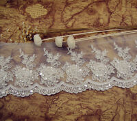 Ivory Sequin Beaded Bridal Lace Trimming Embroidery Trim Sewing Wedding Edging