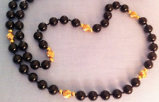 "Black Onyx Necklace 30"" Smooth & Corrugated GF Beads w/ 14kt GF Clasp--6mm Opera"