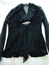 NEW Woman's large Black Bouse with Sheer Sleeves and Jewel Belt Buckle