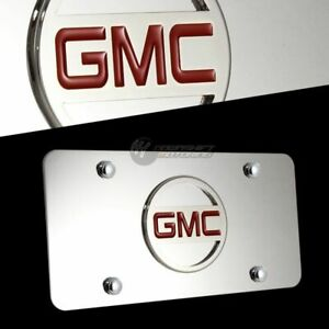 3D GMC Logo Front Mirror Stainless Steel License Plate Frame AUTHENTIC with Caps