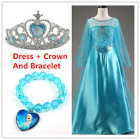 Kids Girls Dresses Elsa Frozen dress costume Princess Anna party dresses`Crown!!