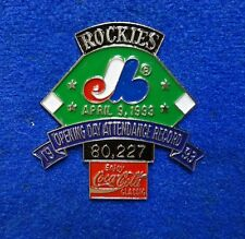 1993 Rockies vs Expos Opening Day Attendance Record Coke Baseball Pin On Card