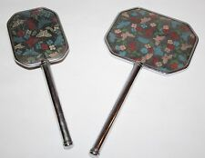 Embroidery Petit Point Dressing Table Brush & Mirror - Art Deco Butterflies