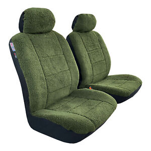 Faux Sheepskin Seat Covers Car Truck Front Airbag Easy Fit, Midnight Green