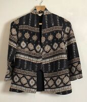 Monsoon Edge to Edge Ethnic Print 3/4 Sleeve Jacket Coat Size 8 Party VGC