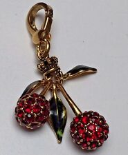 New Juicy Couture Rhinestone Red Cherries with Green Leaves Gold Bracelet Charm