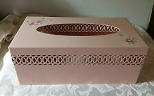 Pink Metal Cut Out Kleenex Tissue Box Cover 50s Repro Simply Shabby Chic