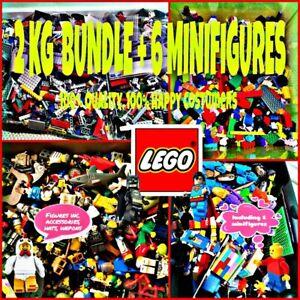 LEGO BUNDLE ASSORTED 2 KG GENUINE 2000G 6 MINIFIGURES MIXED BRICKS LOT SET BULK