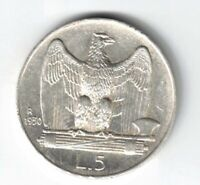 ITALY 1930-R 5 LIRE VITTORIO EMANUELE III EAGLE WITH OPEN WINGS .835 SILVER COIN