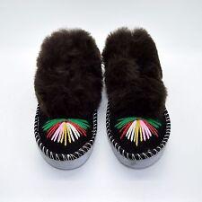 Womens Sheepskin Full Slippers Hand Made Hard Sole Wool Moccasins 3 4 5 6 7 8