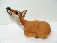 Clay Deer Sculpture Statue Whitetail Doe Figurine Folk Art Pottery Fawn Lying