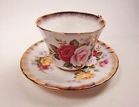 Royal Ardalt Bone China Teacup and Saucer Made in England Rose Motif
