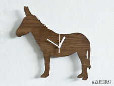Donkey Kids Cartoon Silhouette - Wooden Wall Clock