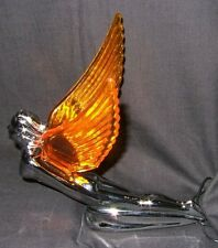 FLYING GODDESS WITH AMBER LIGHT UP WINGS CAR MASCOT