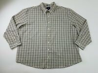 SADDLEBRED Mens Easy Care White Plaid Button Down Size 3XL Work Shirt