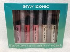 Mind Body and Soul STAY ICONIC 5 Piece Lip Gloss Clear Shine Pink .1 oz/3mL New